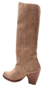 Frye Boot Side Zip Up Suede Tan Boots
