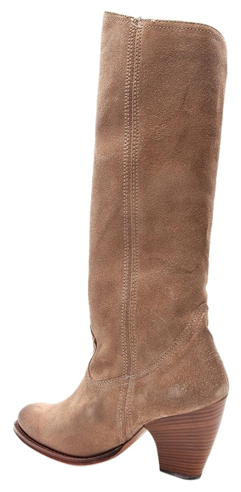 Frye Tan Angela Style Zip In Suede Leather Style Angela 77757 Boots/Booties 161ace
