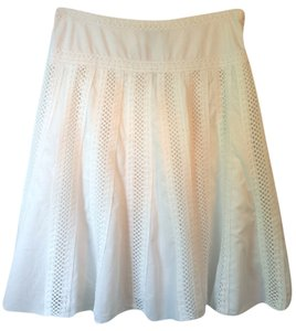 New York & Company Lace Cotton Size Skirt White