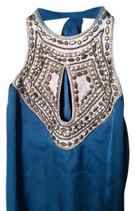 bebe Jeweled Beaded Embroidered Blue Halter Top