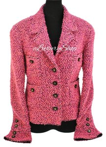 Chanel Cc Logo Cc Buttons Tweed Wool Suit Coat Pink Jacket