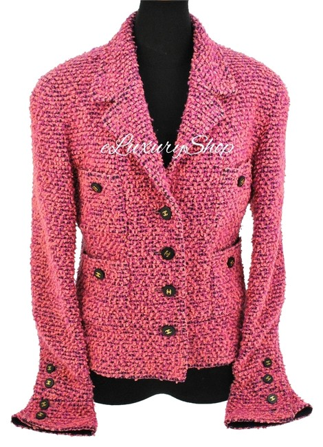 Chanel Cc Logo Cc Buttons Tweed Wool Suit Coat Pink Jacket Image 0