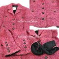 Chanel Cc Logo Cc Buttons Tweed Wool Suit Coat Pink Jacket Image 5