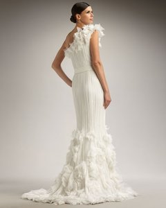 Tadashi Shoji Rosette Applique One Shoulder Chiffon Gown Wedding Dress Wedding Dress