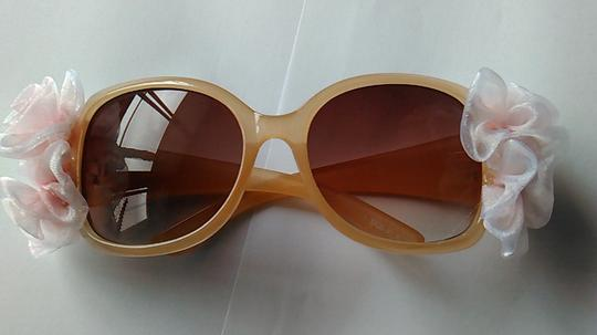 Tracey Vest Pink Chiffon Floral Embellished Nude Sunglasses
