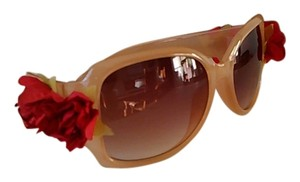 Tracey Vest Red Rose Embellished Nude Sunglasses