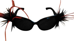 Tracey Vest Red/Black Ostrich Embellished Black Sunglasses