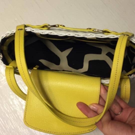 Kate Spade Wicker Leather Satchel in white/yellow