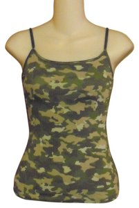 Ambiance Apparel Camouflage Spaghetti Shell Top Green