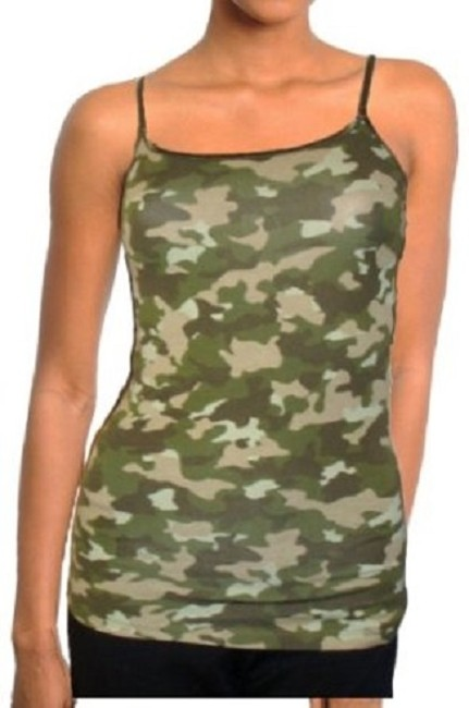 Ambiance Apparel Camisole Camouflage Spaghetti Straps Shell Top Green