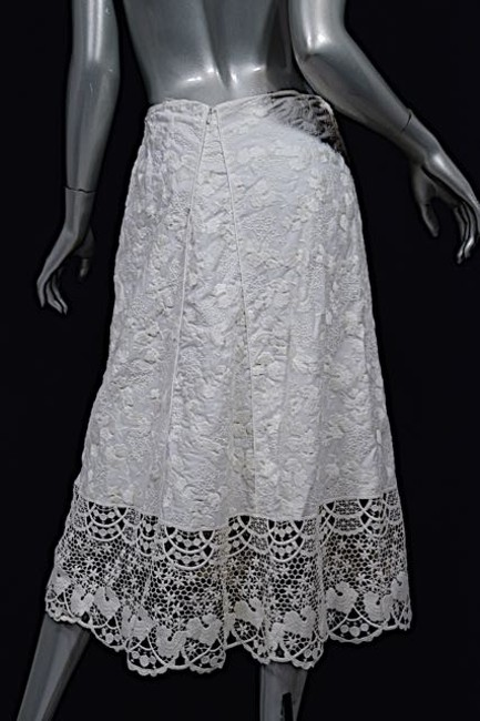 Luisa Beccaria Skirt White Embroidered w/Lace