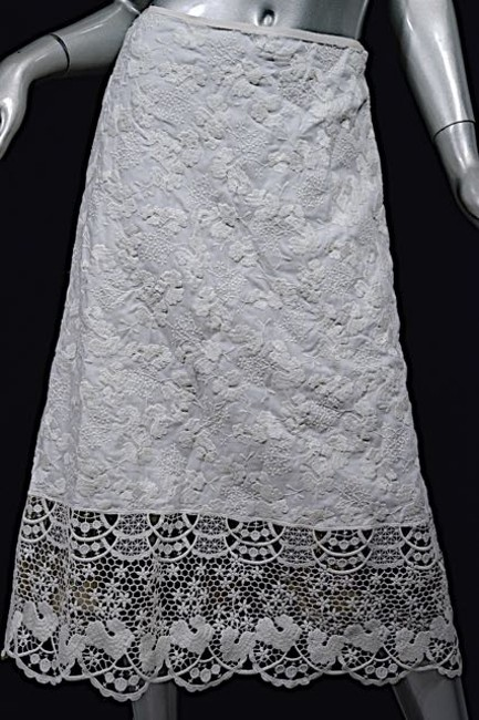 LUISA BECCARIA Skirt White Embroidered w/Lace Image 3