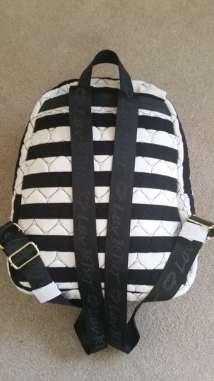 Betsey Johnson Hoodie White Stripes Hearts Backpack