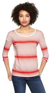 Gap Striped Variegated Plus-size Casual Spring T Shirt Red