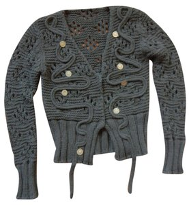 6625c4f43 LF Cropped Knit Cardigan Front Closure V-neck Embellished With Coins Sweater