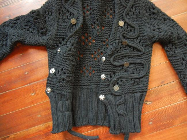 LF Cropped Knit Cardigan Front Closure V-neck Embellished With Coins Sweater Image 2