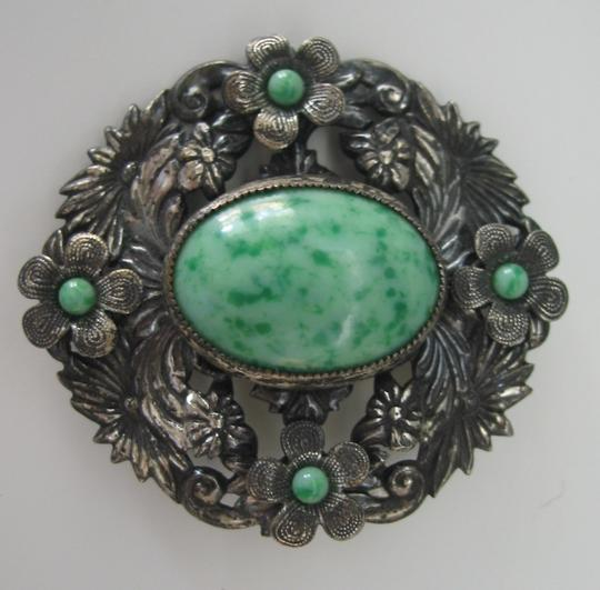 Other Large Vintage Czech brooch with green stones