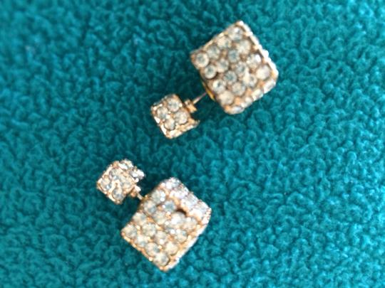 1c02dccb7c9c0 Gold and Crystal Encrusted Double Sided Cube (Gold) Earrings