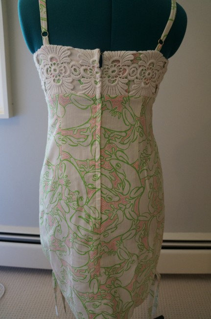 Lilly Pulitzer Green Pink Frog Green And Pink Strapless Dress