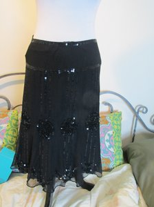 Nanette Lepore Jewel Sequined Silk Skirt BLACK