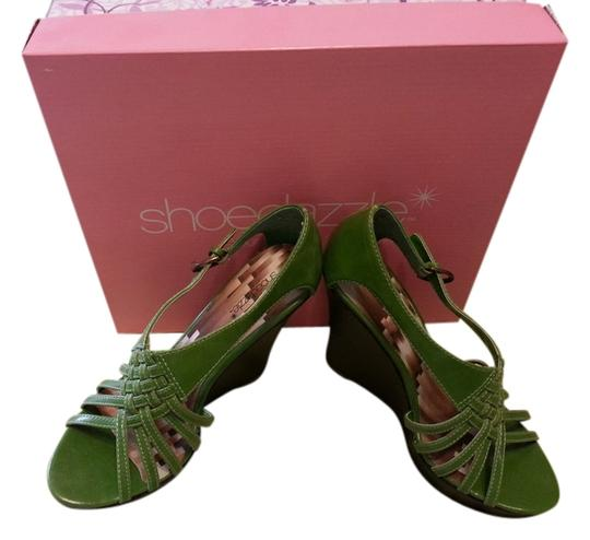 ShoeDazzle Green/Brown Wedges