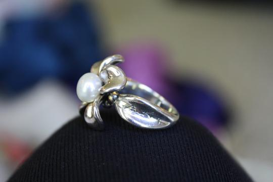 Ann King Ann King Sterling Silver Fresh Water Pearl Orchid Flower Ring