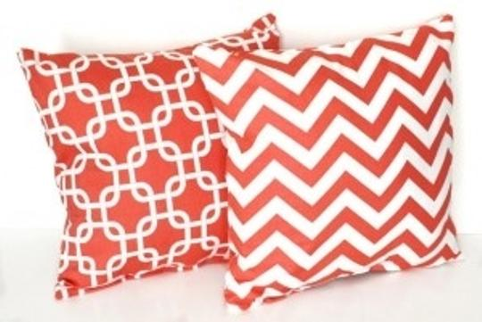Other Preppy Coral and White Jonathan Adler-like Throw P Reception Decoration