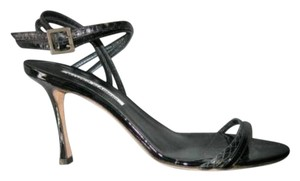 Manolo Blahnik Patent Black Sandals