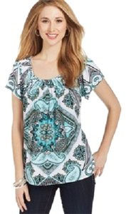 Style & Co Paisley Chic Diamond Smock Pleated T Shirt Green