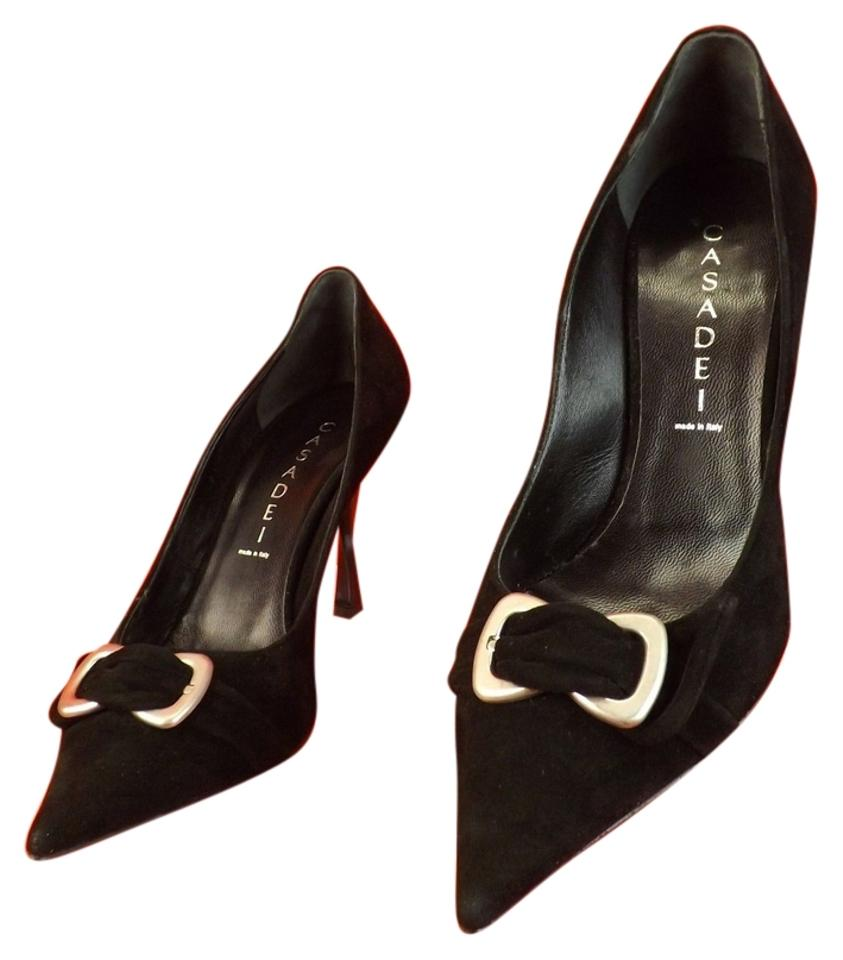 f5aeb3cb8 Casadei Black Suede Pointed Toe Buckle High Heel Classic Pumps Size ...