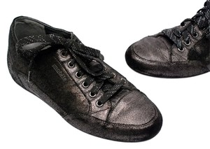 Mephisto Mobils Distressed Metallic Black Distressed Flats