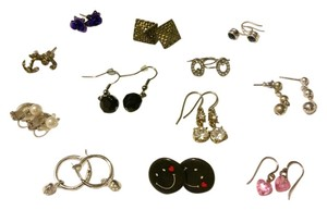 Fashion Jewelry 12 Pairs of Earrings Lot- Studs, Rhinestone, Pearl, Hoop, Flower