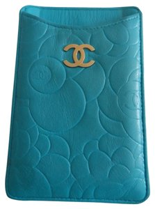 Chanel Chanel Wallet Cell Phone IPhone Business Credit Card Case Holder Blue Lambskin Quilted Leather Camellia Flower Silver Hardware SHW CC Logo WOC Mini 12P Classic Timeless