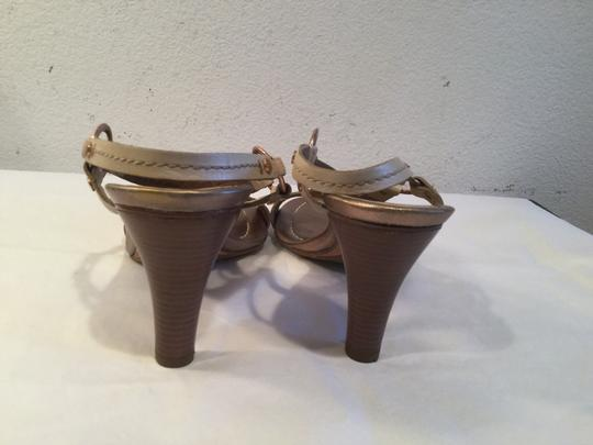 Cole Haan Lining Stack Wood Heels Gold Rings Dark Bone leather gorgeous topstitchin Sandals