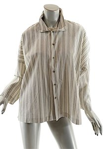 Eskandar Stripe Button Down Button Down Shirt Ivory, Grey, Tan