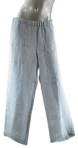 Eskandar Elastic Waist Linen Patch Pockets Relaxed Pants Blue
