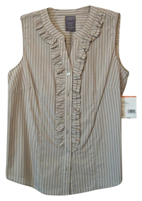 Laura Scott Petite Striped Sleeveless Button Down Shirt Multicolor