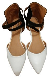 Charlotte Russe Ankle Strap Black & White Flats