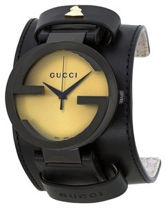 Gucci Gucci Mens Watch Black Leather Cuff Grammy Designer Watch