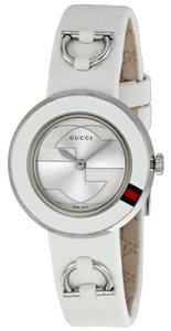 Gucci Gucci Ladies Watch Sport White Leather Round Dial slim Designer Watch