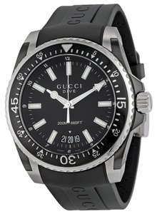 Gucci Gucci Mens Watch Black Dial Casual Sport Rubber Strap Designer Watch