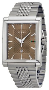 Gucci Gucci Ladies Watch Brown Dial Silr Tone Stainless Steel Classic Designer Watch