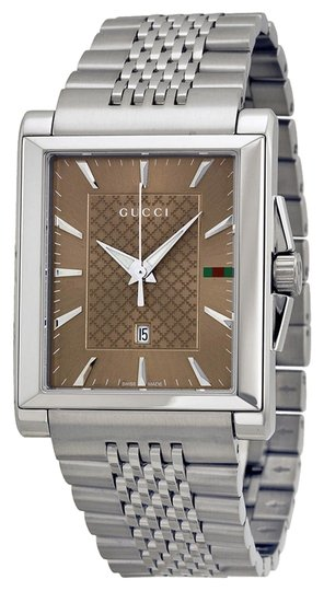 Gucci Brown Dial Silver Tone Stainless Steel Classic Designer Watch