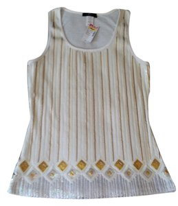 DEB Top white, silver and gold