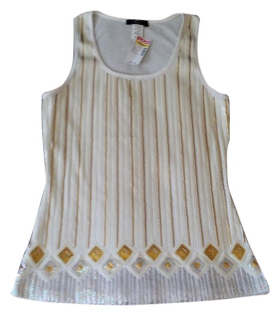 Item - White Silver and Gold Tank Top/Cami Size 10 (M)