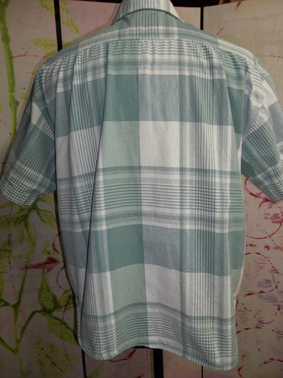 Esprit Sport Esprit Sport Men's Short Sleeve Shirt, Green/Off White Plaid, Size Small