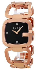 Gucci Rose Gold Black Diamond Dial Dress Style Designer Watch