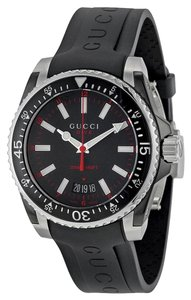 Gucci Gucci Mens Watch Black Dial Rubber Band Casual Sport Designer Watch
