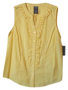 Laura Scott Striped Medium Ruffles Yellow Button Down Shirt Multi-color