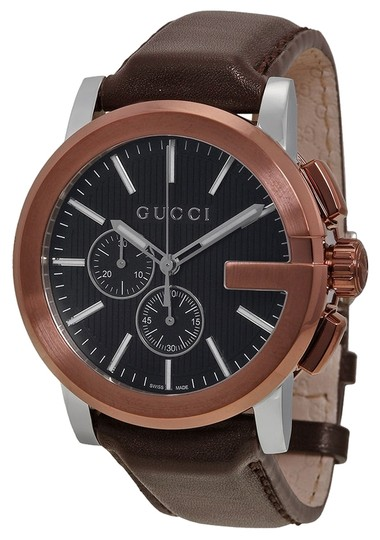 Gucci Gucci Mens Watch Brown Leather Strap Brown Dial with Rose Gold Bezel